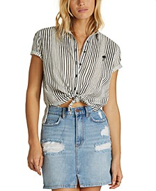 Juniors' Cotton Cropped Tie-Front Shirt