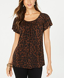 Printed Pleated Scoop-Neck Top, Created for Macy's
