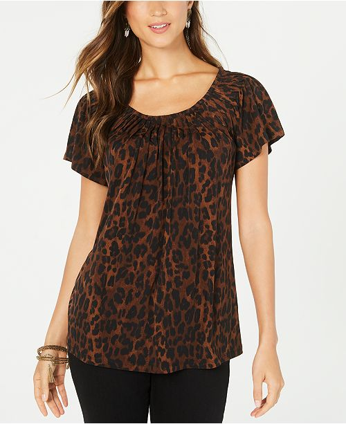 Style & Co Petite Animal-Print Top, Created For Macy's