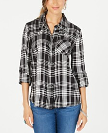 Style & Co. Petite Plaid-Print Top, Created for Macy's