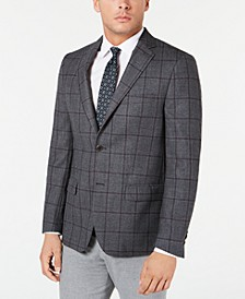 Men's Classic-Fit Charcoal Windowpane Sport Coat