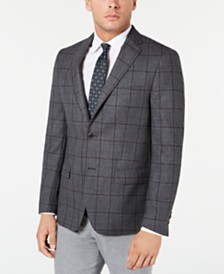 Michael Kors Men's Classic-Fit Charcoal Windowpane Sport Coat
