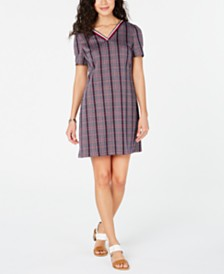 Tommy Hilfiger V-Neck Plaid Dress, Created for Macy's