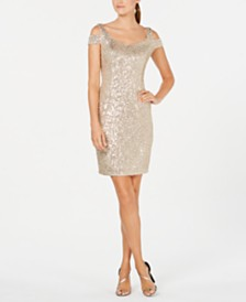 Calvin Klein Sequin Cold-Shoulder Dress