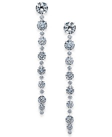 Danori Silver-Tone Cubic Zirconia Linear Drop Earrings, Created For Macy's