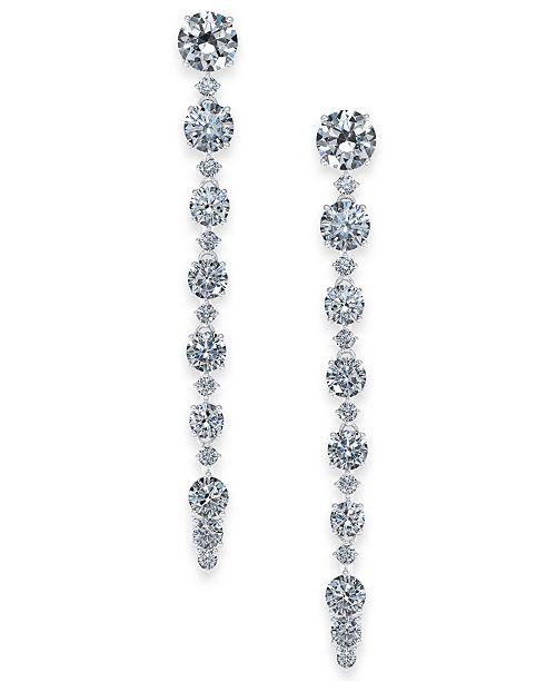 Eliot Danori Danori Silver-Tone Cubic Zirconia Linear Drop Earrings, Created For Macy's