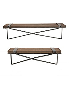 Farmhouse Metal and Wooden Wall Shelf