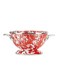 Golden Rabbit Red Swirl Enamelware Collection 1 Quart Colander
