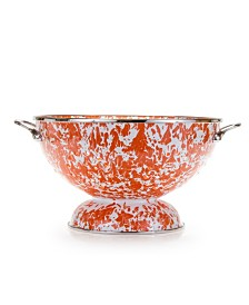 Golden Rabbit Orange Swirl Enamelware Collection 2 Quart Colander