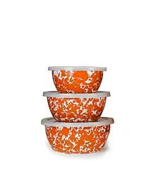 Golden Rabbit Orange Swirl Enamelware Collection Nesting Bowls, Set of 3