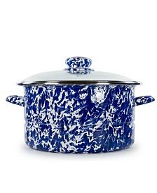 Golden Rabbit Cobalt Swirl Enamelware Collection 6 Quart Stock Pot