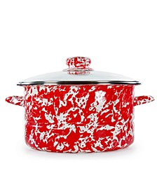 Red Swirl Enamelware Collection 6 Quart Stock Pot