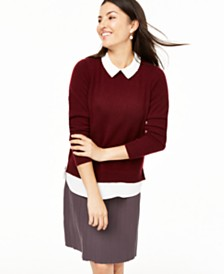 Charter Club Cashmere Embellished Layered-Look Sweater, Created for Macy's