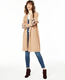 Pure Cashmere Maxi Sweater with Embroidered Sleeves, Created for Macy's