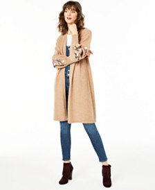 Charter Club Pure Cashmere Maxi Sweater with Embroidered Sleeves, Created for Macy's