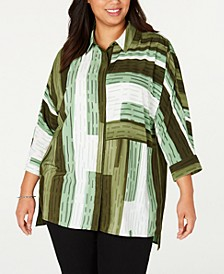 Plus Size Printed Button-Front Tunic Top, Created for Macy's