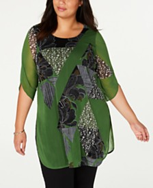 Alfani Plus Size Printed Tunic, Created for Macy's