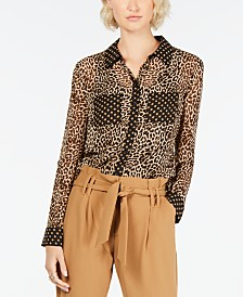 I.N.C. Leopard Dot Button-Up Shirt, Created for Macy's