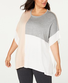 Calvin Klein Plus Size Colorblocked Poncho Top