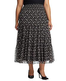 Lauren Ralph Lauren Plus Size Floral-Print Tiered Georgette Peasant Skirt