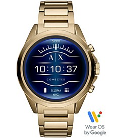 A|X Men's Connected Gold-Tone Stainless Steel Bracelet Touchscreen Smart Watch 48mm, Powered by Wear OS by Google™