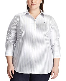 Plus Size Wrinkle-Resistant Button-Down Shirt