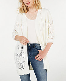 Say What? Juniors' Pointelle Open-Front Cardigan