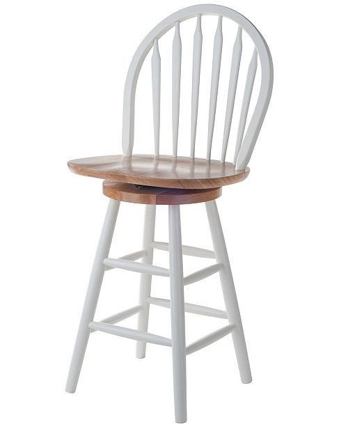 "Winsome Wagner 24"" Arrow-Back Windsor Swivel Seat Bar Stool"