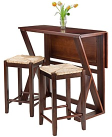 Wood Harrington 3-Piece Drop Leaf High Table