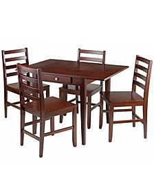 Hamilton 5-Piece Drop Leaf Dining Table with 4 Ladder Back Chairs