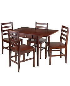 Winsome Wood Hamilton 5-Piece Drop Leaf Dining Table with 4 Ladder Back Chairs