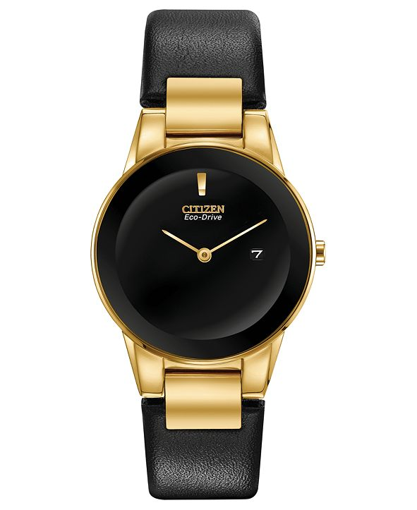 Citizen Eco-Drive Women's Axiom Black Leather Strap Watch 30mm