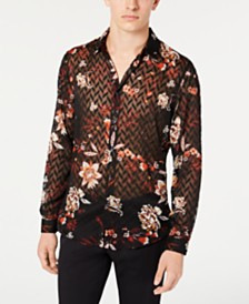 I.N.C. Men's Sheer Chevron Floral Shirt, Created for Macy's