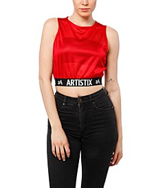 Graphic Mesh Crop Top