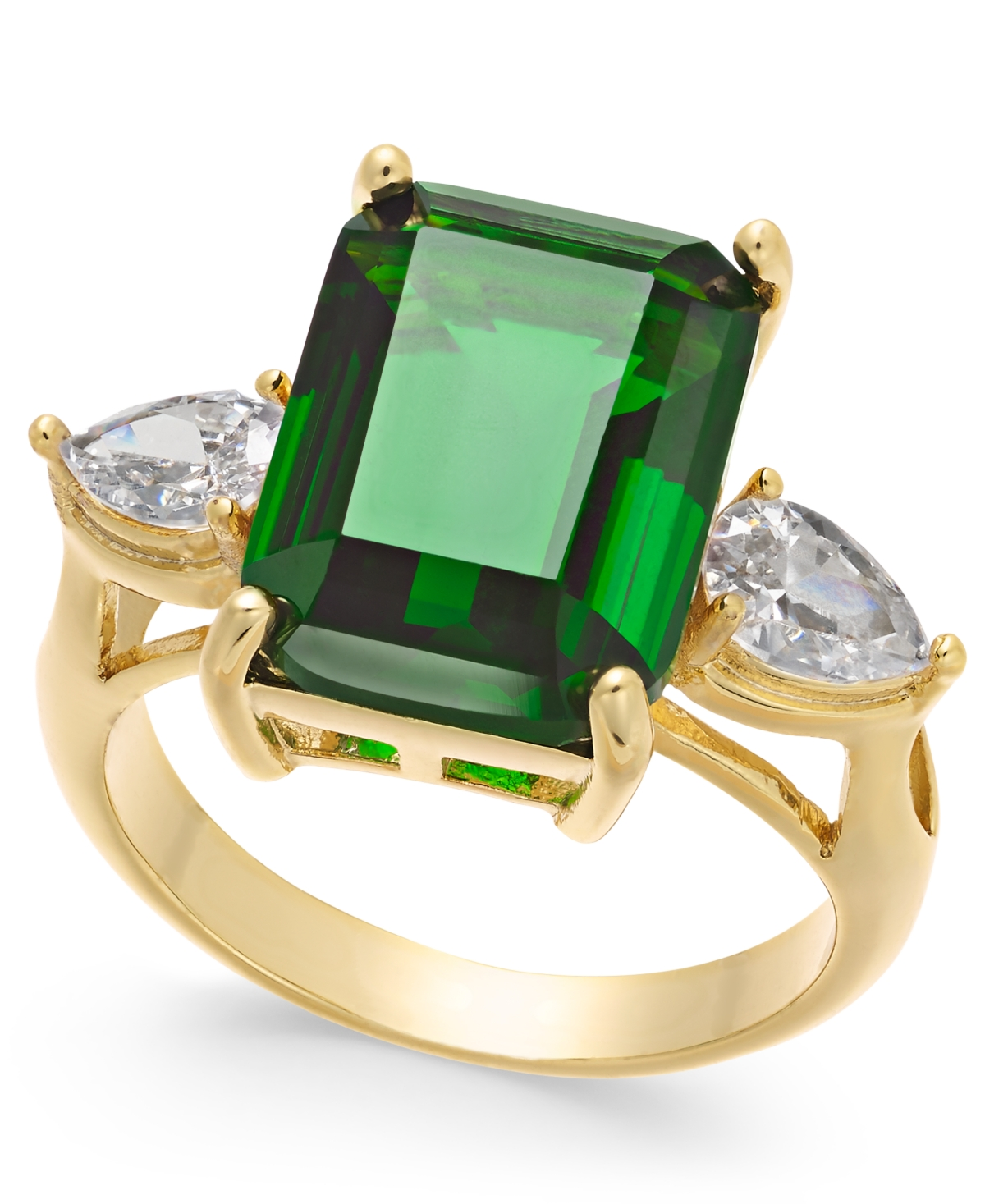 Charter Club Fine Silver Plate, Gold or Rose Gold Plate Emerald-Crystal Ring, Created for Macy's