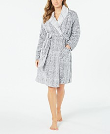 Super Soft Faux-Fur Short Wrap Robe, Created For Macy's