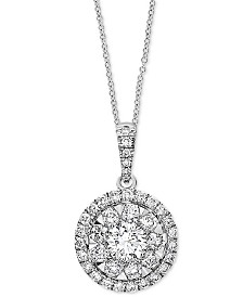 """EFFY® Diamond Halo Cluster 18"""" Pendant Necklace (3/8 ct. t.w.) in 14k White Gold"""
