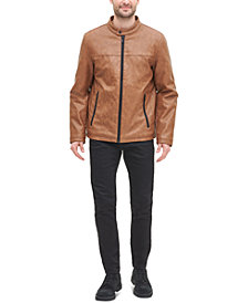 DKNY Men's Classic Faux Leather Stand Collar Racer Jacket
