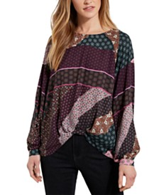 Karen Kane Twist-Front Printed Top