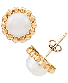 Cultured Freshwater Pearl (7-3/4mm) Beaded Frame Stud Earrings in 10k Gold