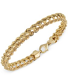 Kissing Hearts Rope Chain Bracelet in 14k Gold