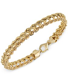 Italian Gold Kissing Hearts Rope Chain Bracelet in 14k Gold