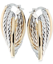 Italian Gold Braided Two-Tone Hoop Earrings in 14k Gold and 14k White Gold