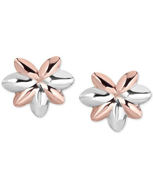 Italian Gold Two-Tone Flower Stud Earrings in 10k Rose Gold & 10k White Gold