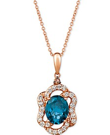 "Deep Sea Blue Topaz (2-9/10 ct. t.w.) & Diamond (5/8 ct. t.w.) 20"" Pendant Necklace in 14k Rose Gold"