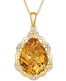 "Cinnamon Citrine (7-1/2 ct. t.w.) & Nude Diamonds (1/5 ct. t.w.) 20"" Pendant Necklace in 14k Gold"