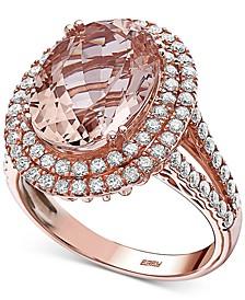 EFFY® Morganite (6-1/6 ct. t.w.) & Diamond (9/10 ct. t.w.) Ring in 14k Rose Gold
