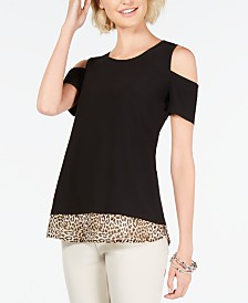 I.N.C. Cold-Shoulder Layered Top, Created for Macy's