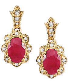 Certified Ruby (1-1/3 ct. t.w.) & Diamond Accent Drop Earrings in 14k Gold