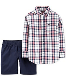 Toddler Boys 2-Pc. Cotton Plaid Shirt & Shorts Set